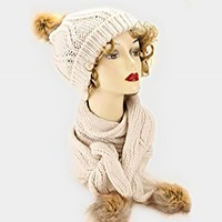 Pom Pom Fur Knit Scarf & Hat Set