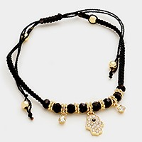 Crystal evil eye hamsa hand charm cinch bracelet