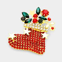 Crystal Christmas Sock  Pin Brooch