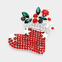 Crystal Christmas sock brooch