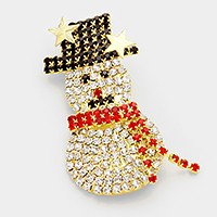 Crystal Christmas snowman brooch