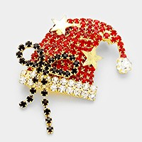 Crystal Christmas Santa Claus bow hat brooch