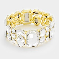 Emerald cut crystal rhinestone stretch bracelet