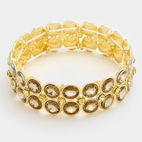 2-Row glass crystal bubble stretch bracelet