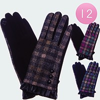 12 Pairs - Faux leather ruffle & button detail check pattern smart gloves