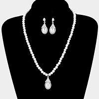 Crystal pave teardrop pearl pendant necklace