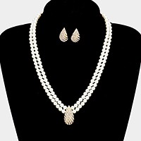 Crystal pave teardrop accented pearl necklace