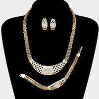 3-PCS Crystal rhinestone pave metal mesh necklace jewelry set