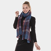 Plaid check oblong tweed scarf with frayed edge