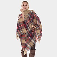 Turtleneck Plaid Check Poncho with Frayed Edge
