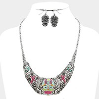 Colorful day of the dead skull crescent bar necklace