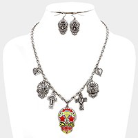 Colorful day of the dead skull & cross charm station necklace