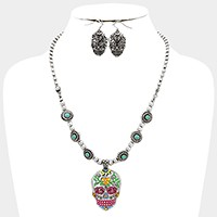 Colorful day of the dead skull pendant turquoise necklace
