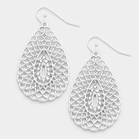 Crystal detail metal mesh teardrop earrings