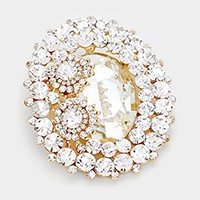 Oval glass crystal & double flower brooch