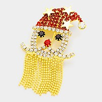 Crystal Santa Claus fringe beard brooch