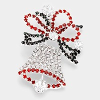 Crystal pave Christmas Bell Brooch