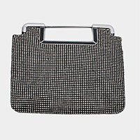 Metal bar handle crystal mesh evening clutch bag