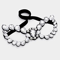 Crystal rhinestone teardrop cat eye mask