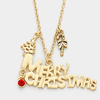 Merry Christmas tree charm pendant necklace