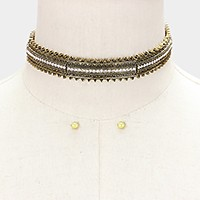 Crystal lined antique metal choker necklace