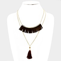 Double layer faux suede fringe bar & thread tassel pendant necklace