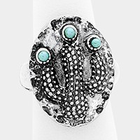 Turquoise detail metal cactus stretch ring