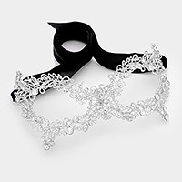 Crystal rhinestone embellished metal vine cat eye mask