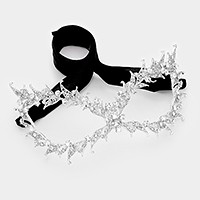 Crystal rhinestone embellished metal cat eye mask