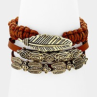 3 PCS - Tribal feather metal faux suede leather stack bracelets
