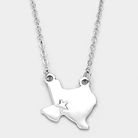 Metal Texas state map pendant necklace