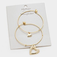 2 PCS - Double heart charm mother & daughter bracelets