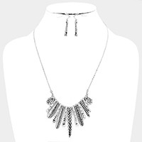 Hammered metal feather & leaf multi-bar necklace
