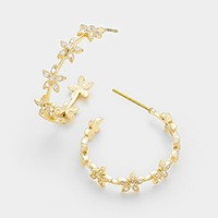 Crystal cubic zirconia CZ flowers hoop earrings