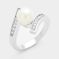 Crystal rhinestone embellished white pearl ring