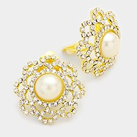 Crystal rhinestone embellished oval pearl clip on earrings