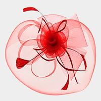 Long stem feathers detail mesh flower bow fascinator