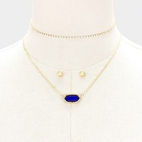 2 PCS - Crystal trim hexagon pendant necklace + crystal choker