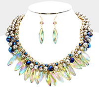Woven glass bead pearl necklace