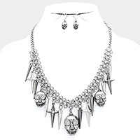 Metal skull & spike charm station necklace
