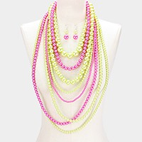 Multi-layer pearl strand necklace