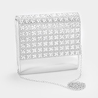 Crystal cover square faux leather evening bag
