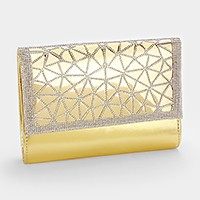Crystal embellished faux leather evening clutch bag with strap