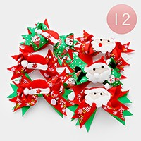 12 PCS - Christmas bow hair pinch clips