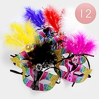 12 PCS - Glitter Venetian Masquerade Feather Half Masks