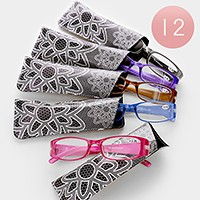 12 Pairs -  Assorted Square Frame Reading Glasses with Cases