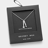 White gold dipped crystal cubic zirconia CZ pendant necklace with secret box