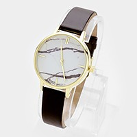 Marble dial faux leather band watch