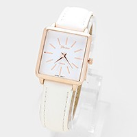 Square dial faux leather band watch