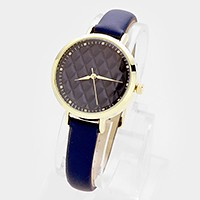 Quilted dial faux leather band watch